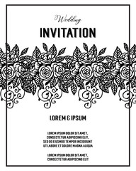 save the date invitation card design floral hand draw vector art