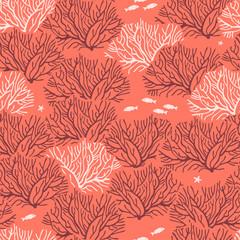 Графический бесшовный узор на коралловом фоне с изображением кораллов, чередующихся тёмно-красных кустов и кустов розового цвета, между ними располагаются маленькие светлые рыбки и морские звёзды.