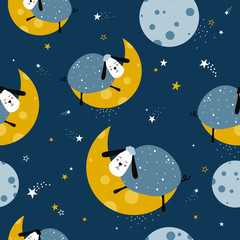 Sheeps, hand drawn backdrop. Colorful seamless pattern with animals, moon, stars. Decorative cute wallpaper, good for printing. Overlapping background vector. Design illustration