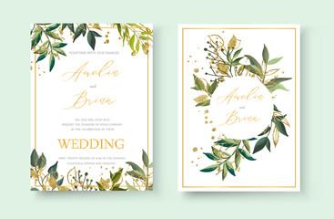 Wedding floral golden invitation card envelope save the date minimalism