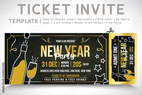 New Year Invitation Ticket Ticket Party Elegant Holiday Party