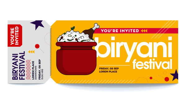 Biryani Vector Illustration. Biryani Party Vector Tickets Template. You are Invited Ticket for entrance to the party. Modern elegant template of Ticket Card. Indian/Mughlai traditional rice dish.