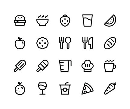 Simple Set of Food & Drink Related Vector Line Icons. Contains such Icons asburger, bowl, strawberry, watermelon, cookie and More. pixel perfect vector icons based on 32px grid. Well Organized