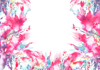 Watercolor bouquet of flowers, Beautiful abstract splash of paint, fashion illustration. Orchid flowers, poppy, cornflower, red gladiolus, peony, rose, field or garden flowers.On a white background.