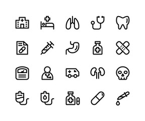Simple Set of Medical Related Vector Line Icons. Contains such Icons ashospital, medical, lungs, doctor, teeth and More. pixel perfect vector icons based on 32px grid. Editable Strokes