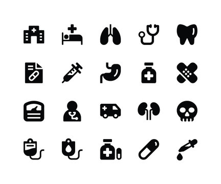 Simple Set of Medical Related Vector Glyph Icons. Contains such Icons ashospital, medical, lungs, doctor, teeth and More. pixel perfect vector icons based on 32px grid. Well Organized