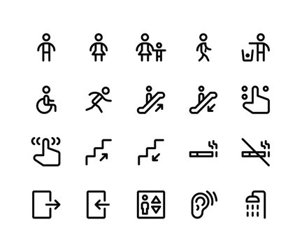 Simple Set of Wayfinding Related Vector Line Icons. Contains such Icons assign, male, women, walking, run, wheelchair and More. pixel perfect vector icons based on 32px grid. Editable Strokes