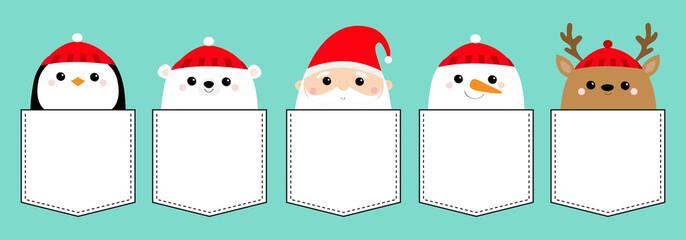 Penguin Santa Claus White polar bear Snowman Raindeer Deer bird face icon set. T-shirt pocket. Merry Christmas. New Year. Cute cartoon funny kawaii baby character. Flat design Blue background.
