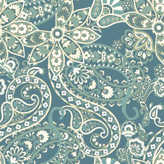 Paisley vector seamless pattern. Fantastic flower, leaves. Textile bohemian print.