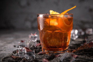 Alcoholic or non-alcoholic cocktail with orange citrus, pomegranate with the addition of liqueur, vodka, champagne or martini. Cool drink. Easy Bartenders Recipes and Ideas