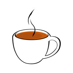 Vector illustration of cup of hot coffee