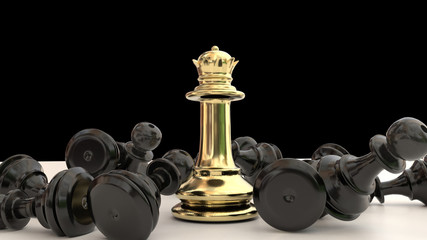 queen golden wins in a chess game the black pawns the  winner - 3d rendering