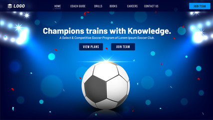 Responsive website template or landing page for Football Championship concept.