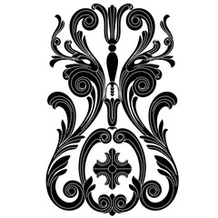 Black vintage baroque ornament, corner. Retro pattern antique style acanthus.