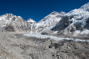 khumbu glacier close to everest base camp