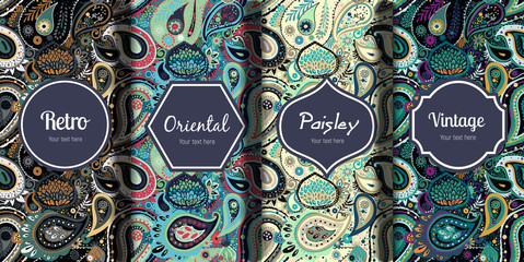 Printed roller blinds Pattern Set of seamless patterns in vintage paisley style.