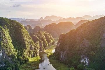 Hang Mua (Mua Cave mountain) sunset view in Ninh Binh, VietNam