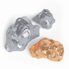 Gold and silver nuggets on a white background. 3d rendering.