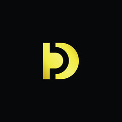 Initial letter PD DP minimalist art logo, gold color on black background.