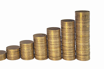 Growing chart from columns of golden coins isolated on white background