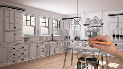 Empty white interior with parquet floor and three panoramic windows, hand drawing custom architecture design, black ink sketch, blueprint showing classic kitchen