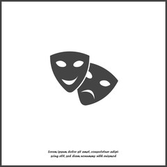 Vector Image Theatrical face mask. Drama and comedy, laughter and crying on white isolated background