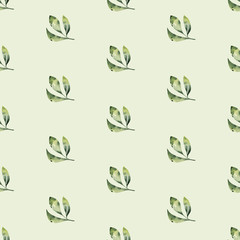 Seamless watercolor pattern of tropical leaves, aloha jungle decoration. Hand painted palm leaf. Texture with tropic summer time used as background, wrapping paper, textile or wallpaper design.