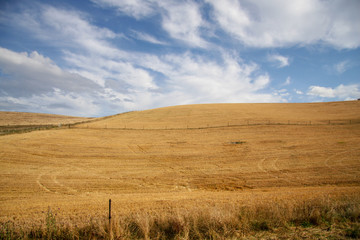 Harvested fields over rolling hills with clouds and blue sky