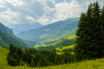 Summer time mountain nature panoramic landscape near Habkern, Switzerland