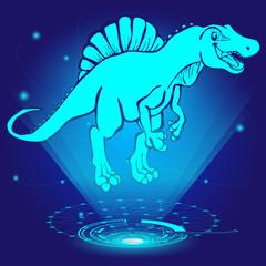 3D hologram of Spinosaurus. Vector illustration.