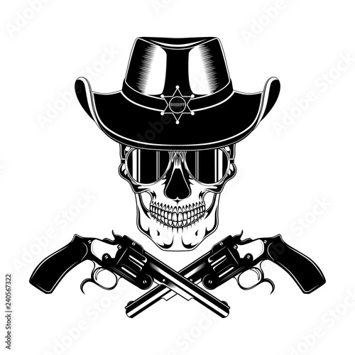 b8655510 Skull in a sheriff's hat in glasses with revolvers. Black and white vector  image on white background.
