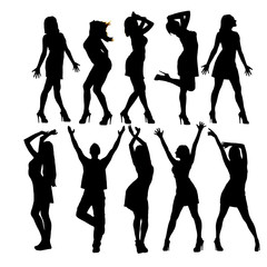 Silhouettes of dancing figures. Disco. Isolated on white