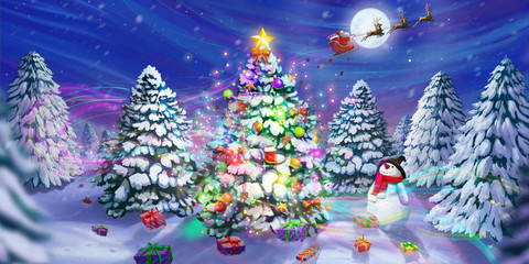 Merry Christmas and Happy New Year! The Christmas Tree Legend. Greeting Card. Fiction Backdrop. Concept Art. Realistic Illustration. Video Game Digital CG Artwork. Nature Scenery.