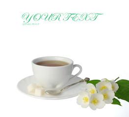 Tea set. White teapot, white cup with tea, jasmin
