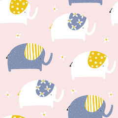 Seamless pattern with funny elephants. Kids trendy print. Vector hand drawn illustration.