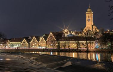 Nürtingen at the Neckar River at night