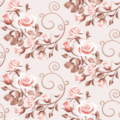 Seamless floral patterns with pink flowers - roses on a light background.