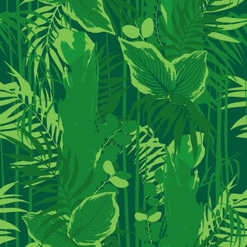 Graphic seamless pattern of exotic leaves and trees