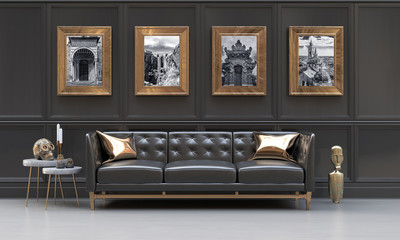 Luxury interior of a black and metallic gold living room with black and white photographies, side tables, sofa, cushions and ethnic sculptures.  3D rendering illustration