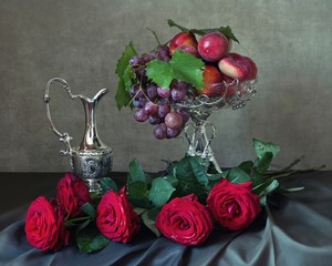 Still life with fruits and roses