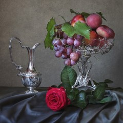 Still life with fruits and rose