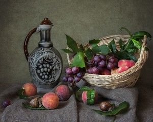 Still life with fruits and snails