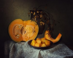 Still life with cooking pumpkin