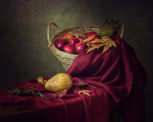 Still life with apples and pear