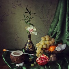 Still life with fruits and orchid flower