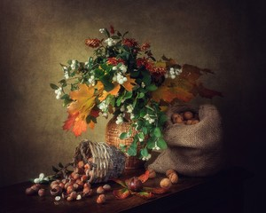 Still life with autumn bouquet