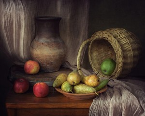 Still life with apples and pears