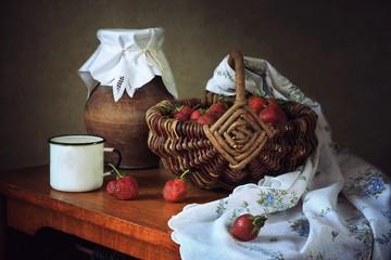 Still life with ripe strawberry