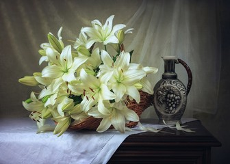 Still life with bouquet  of white lily flowers