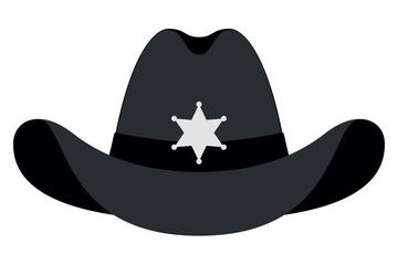 ed1d5d4dc7f59 Silhouette Sheriff Hat Icon. Vector Isolated Object. Front View. Symbol of  Wild West